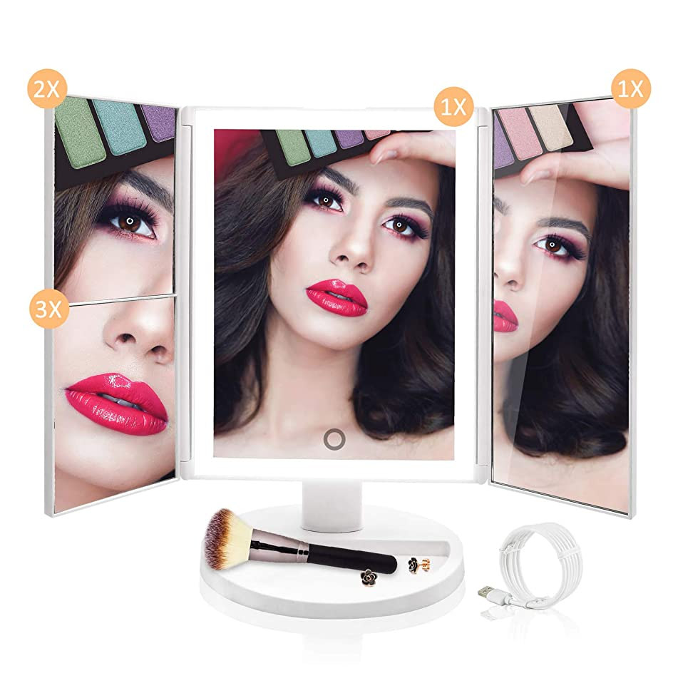Lighted Vanity Makeup Mirror - Upgraded 36 LED Natural Daylight Trifold Cosmetic Mirror, with HD x1 x2 x3 Magnification, Dimmable Lighting, Dual Power Supply, Best Birthday Gift for Women Teen Girls
