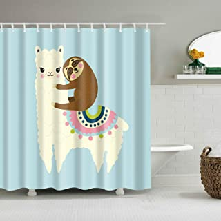 Shower Curtain Set with Hooks Cute Sloth on the Back of Llama Lovely Alpaca Blue White Turquoise Pink Brown Bathroom Decor Waterproof Polyester Fabric Bathroom Accessories Bath Curtain 72 x 78 inches