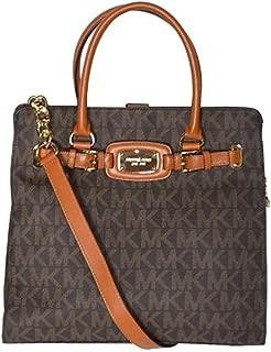 Michael Kors MK Signature PVC Hamilton NS Large Satchel Tote Handbag Shoulder Bag - Mocha