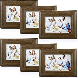 4 X 6 Picture Frames 6 Pack Rustic Style Wood Pattern High Definition Glass for Tabletop Display and Wall mounting Photo Frame