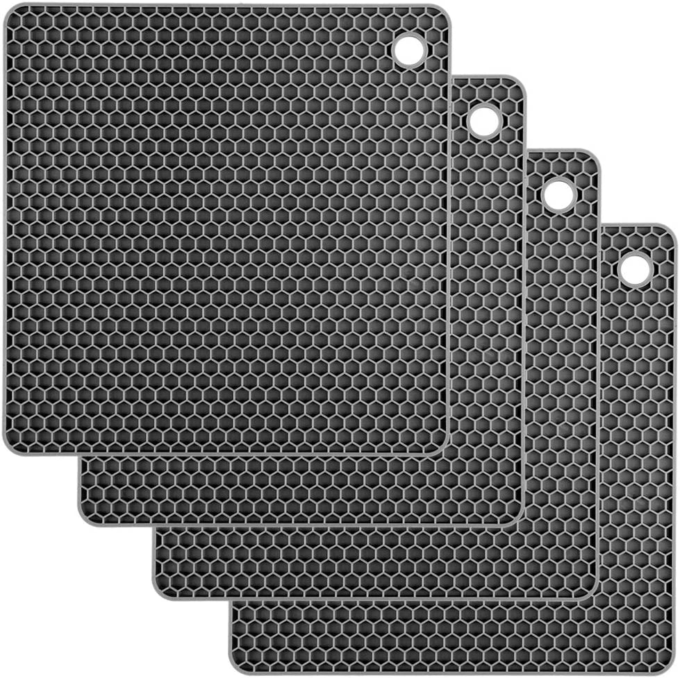 Silicone Trivet Mats CUKWILY Multifunctional Hot Pads Heat Resistant Non Slip Larger Thicker Hot Pot Holder 4 Packs Grey