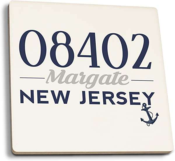 Lantern Press Margate New Jersey 08402 Zip Code Blue Set Of 4 Ceramic Coasters Cork Backed Absorbent