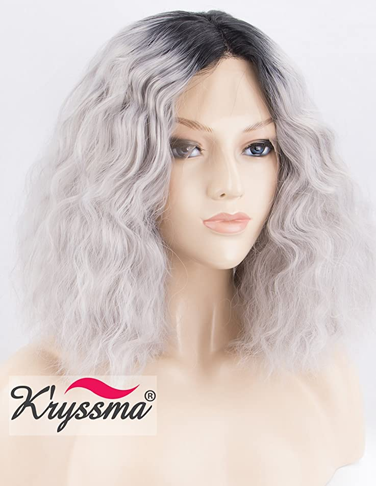 K'ryssma Short Bob Wavy Lace Front Wigs for Women Dark Roots to Silver Grey Ombre Synthetic Wig with Middle Parting Heat Resistant