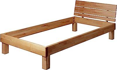 Krok Wood Massivholzbett Valetta Mit Kopfteil In Buche 100x200 Cm Amazon De Kuche Haushalt