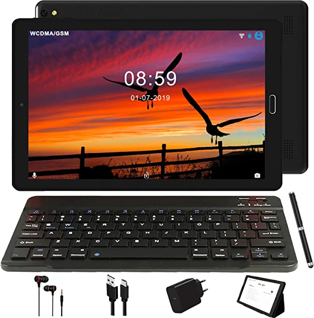 Tablet 10 Pulgadas GOODTEL 4G Android 8.0 Negro Tablets PC con 3GB RAM + 32GB ROM y 8000mAh Batería & 5.0 MP + 8.0 MP HD la Cámara  Dobles SIM y TF Card Apoyo Tablet (WI-FIGPS BluetoothFM Radio)