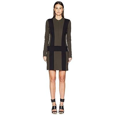 Nicole Miller Ponte Zip-Up Dress (Fatigue/Black) Women