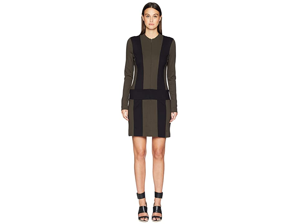 Nicole Miller Ponte Zip-Up Dress (Fatigue/Black) Women