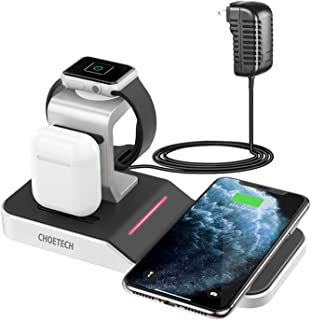 CHOETECH Apple Watch Charger Stand (MFi Certified) 4 in 1 Wireless Charging Station for Apple Watch Series 5/4/3/2/1,AirPods Pro,iPhone 11/11 Pro/11 Pro Max,Galaxy Note 10+ and More (Adapter Included)