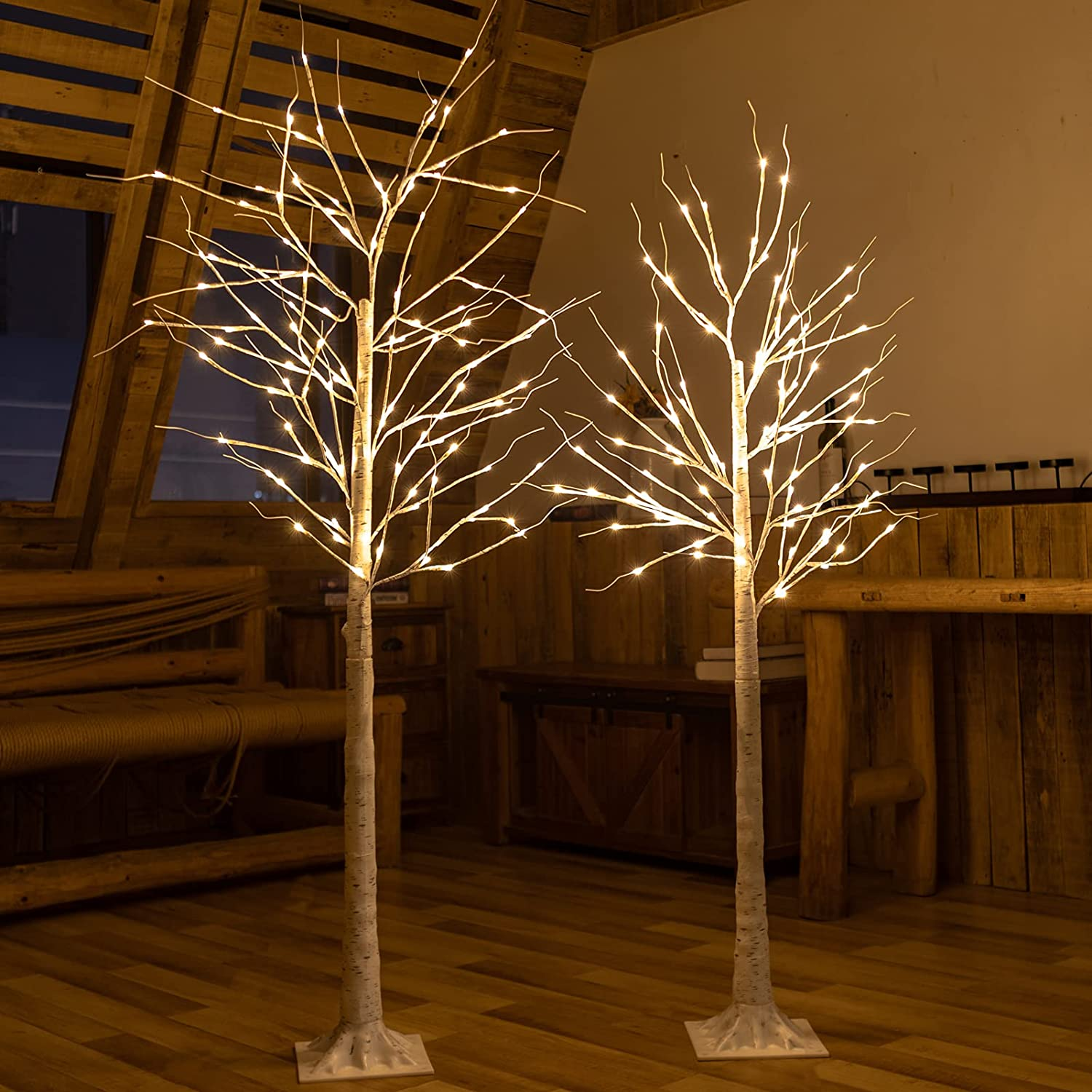 Set of 2 Medium 5and6ft 108LED Twig Birch Fairy Light Tree,Warm White Wisdom Artificial Branches Stand Lamp,Remote Dimmable 8 Flashing Modes,Decoration for Indoor Outdoor All Year Round Festival