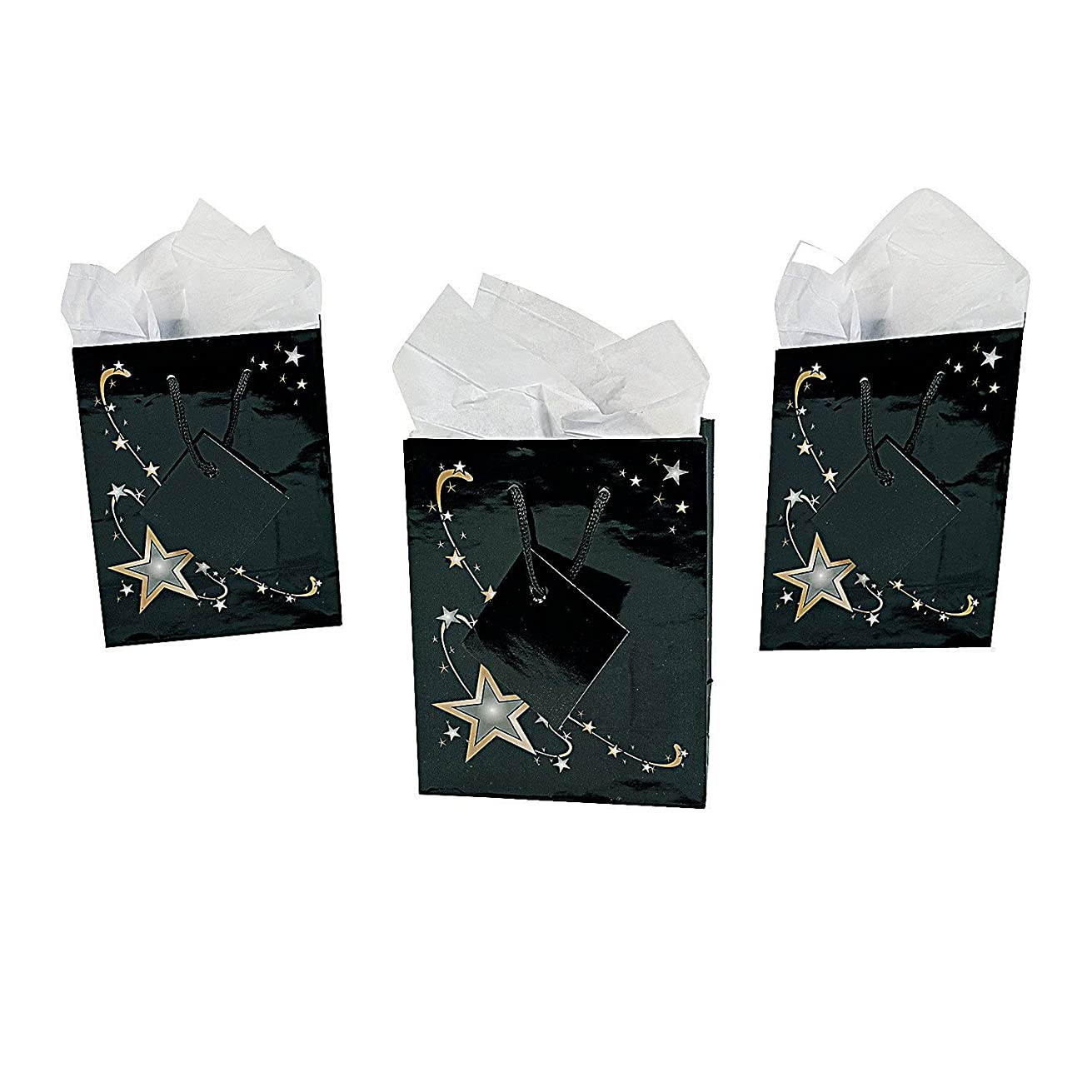 Fun Express Small Gold Star Gift Bags with Tags | 12 Count | Great for Birthday Party, Wedding Favor, Graduation Party