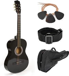 Guitarra de madera negra de 76 cm con funda y accesorios, para niños/principiantes