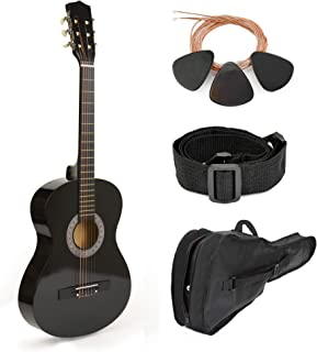 """30"""" Black Wood Guitar With Case and Accessories for Kids/Boys/Beginners"""