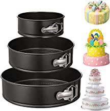 "3Pcs Springform Pan set Non-stick Leakproof 4""/7""/9"" Cake Pan Leakproof Round Baking Pans with Quick Release Latch and Rem..."
