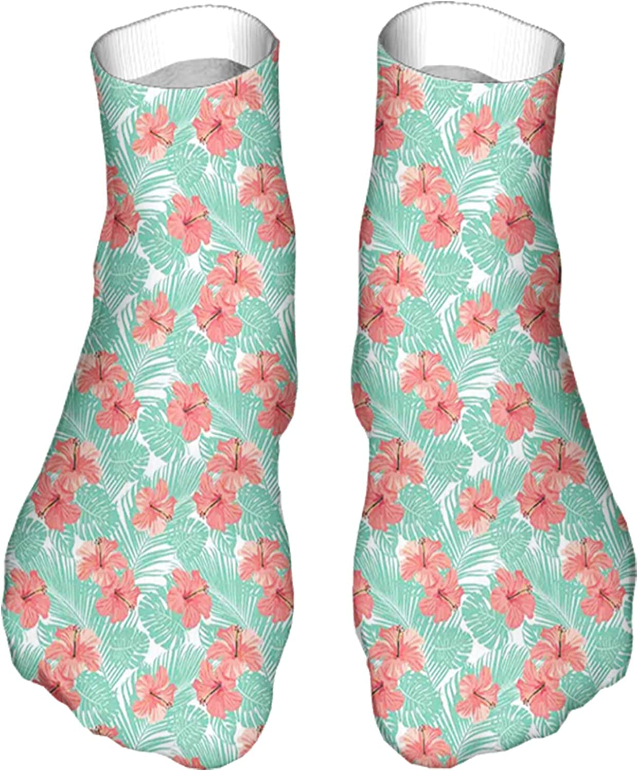 Men's and Women's Fun Socks Printed Cool Novelty Funny Socks,Exquisite Hibiscus Blossom with Artistic Leaf Beach Paradis