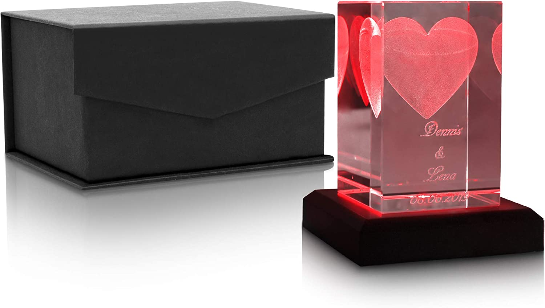 Kristall Glas 3D Herz Hochzeit oder Jahresstag kein Leuchtsockel Geschenkidee zum Valentinstag Personalisiertes Geschenk f/ür Frauen und M/änner