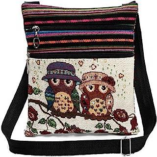 Flache Umhängetasche Schultertasche Stofftasche Tragetasche Messenger Bag für Damen Bestickter Ethno Style mit niedlichem ...