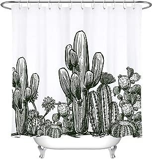 LB Vintage Black White Cactus Plant Shower Curtain for Bathroom, Desert Prickly Plant Succulent Saguaro Decor Bathroom Decor, 70 x 70 Inch, with 12 Shower Curtain Rings