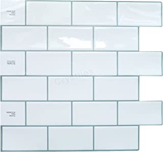 """Crystiles Peel and Stick Self-Adhesive DIY Backsplash Stick-on Vinyl Wall Tiles for Kitchen and Bathroom Décor Projects, Subway White, Item# 91010838, 10"""" X 10"""" Each, 6 Sheets Pack"""