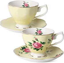 BTaT- Floral Tea Cups and Saucers, Set of 2 (Yellow - 8 oz) with Gold Trim and Gift Box, Coffee Cups, Floral Tea Cup Set, ...