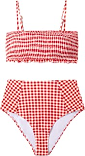Women's Red Gingham Smocked High Waisted Bikini