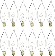 Luxrite Incandescent Candelabra Bulb, 40W, Dimmable, Crystal Clear, Flame Tip, E12 Base (12 Pack)