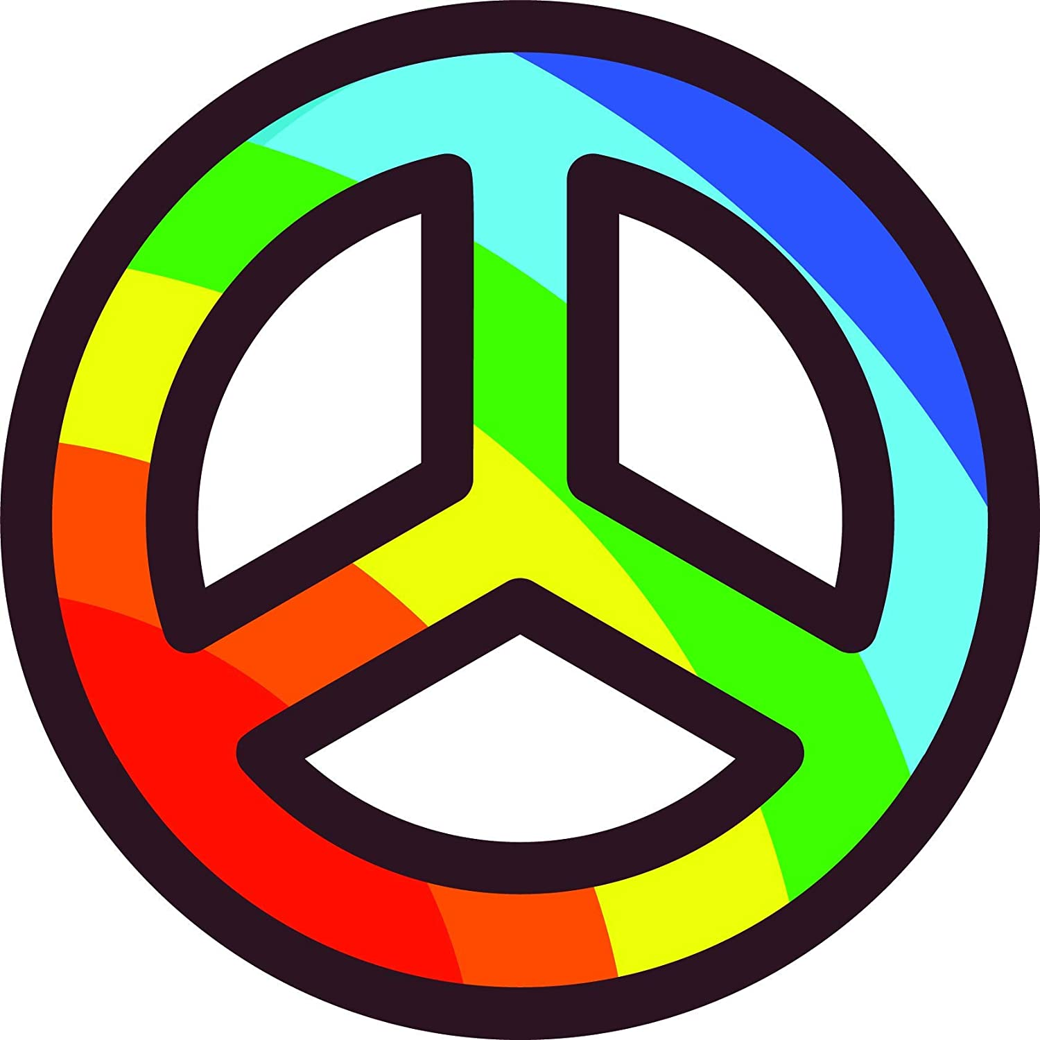 "3.5"" Sticker Cool Good Vibes Only Peace Sun Love Seventies Colorful Rainbows"