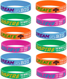 Sainstone 12-Pack Silicone Motivational Wristbands - Dream Inspire Create Believe -Wholesale Inspirational Quote Bracelets for Kids Boys Girls Birthday Dance Party Favors Cheer Gifts Multicolor