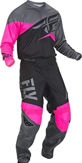 Fly Racing - 2019 F-16 (Mens NEON Pink & Black & Grey Large/32W) MX Riding Gear Combo Set, Motocross Off-Road Dirt Bike Light Weight Durable Jersey & Mesh Comfort Liner Stretch Pre Shaped Knees Pant