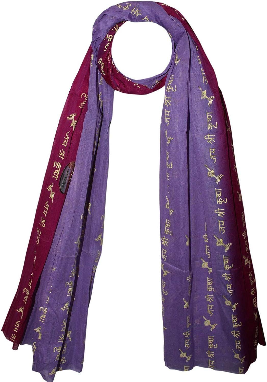 Odishabazaar Large Meditation Scarf Wrap Yoga Prayer Shawl - Jai Sri Krishna(72x44 inch)