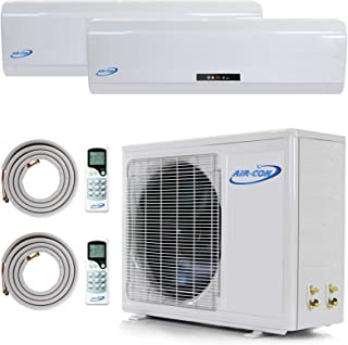 Multi Zone Mini Split Ductless Air Conditioner - Dual Zone 9000 + 9000-2 Zone Pre-Charged Inverter Compressor - Includes Two Free 25' Linesets - Premium Quality - US Parts & Tech Support