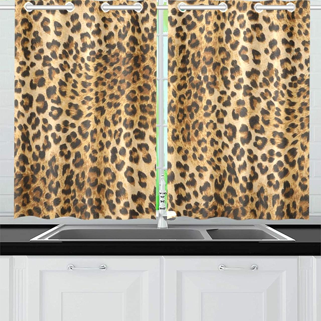 AIKENING Wild Animal Texture Kitchen Curtains Window Curtain Tiers for Café, Bath, Laundry, Living Room Bedroom 26 X 39 Inch 2 Pieces
