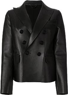 VearFit Women's Silikal Four Hole Buttons Black PU Faux Leather Blazer Missy Regular & Plus Size