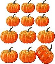 MerryNine Calabazas Artificiales para decoración, Total 12 Piezas 2 Tipos de tamaño Mini Calabazas Artificiales, Verduras Artificiales para Halloween, Acción de Gracias, Adornos de otoño (Naranja)