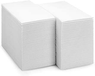Bloomingoods Disposable Linen-Feel Guest Towels | Decorative White Hand Towels, Floral Paper Napkins (100, Plain)
