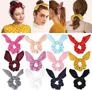 12 piezas de gomas para el cabello de gasa elástica para el cabello rizado Bobbles Ponytail Holder diadema cintas para el ...
