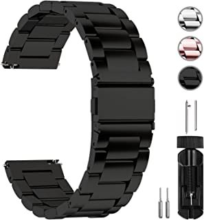 Fullmosa 18mm 20mm 22mm 24mm Watch Band, 3 Colors Quick Release Watch Strap Compatible Samsung Gear S3 Classic/Frontier,Huawei Watch 2 Classic, 22mm Black