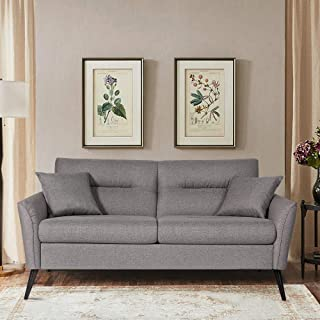 Vonanda Sofa Couch,KD Rolled-Arm Contemporary Upholstered 70 Inch with Comfy Linen Fabric for Small Space,Dark Grey