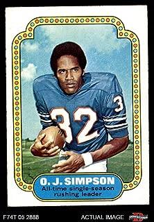 1974 Topps # 1 Record Breaker O.J. Simpson Buffalo Bills (Football Card) Dean's Cards 4 - VG/EX Bills