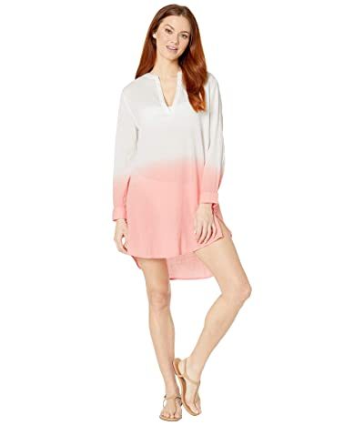 Echo New York V-Neck Long Sleeve Ombre Tunic (Sunset Coral) Women