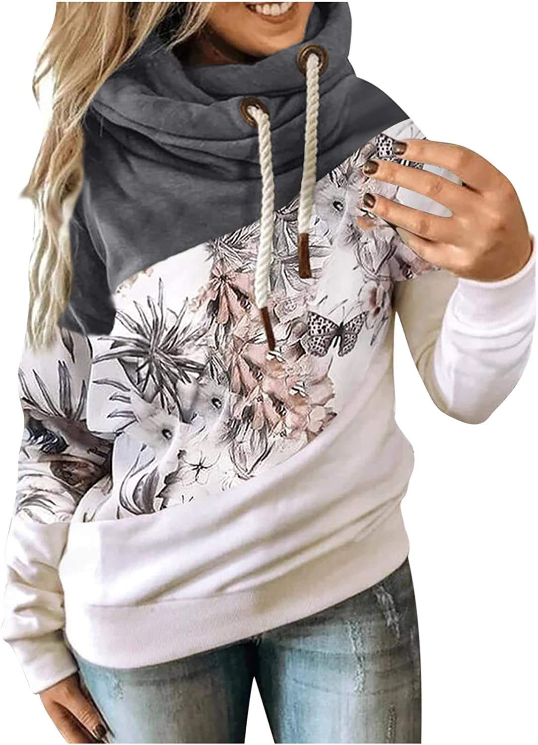 Fall Clothes for Women 2021 Trendy Cowl Neck Hoodies Color Block