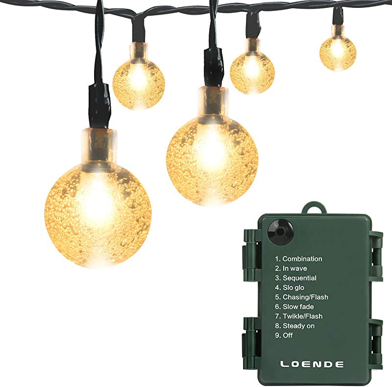 LOENDE Battery Operated String Lights Waterproof 21FT 30 LED 8 Modes Fairy Garden Globe String Lights With Crystal Ball For Christmas Tree Holiday Outdoor Indoor Party Decor Warm White
