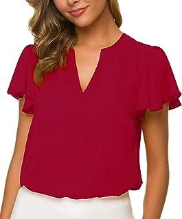 ACONIYA Women's Casual Ruffled V Neck Chiffon Blouse Short Sleeve Office Work Elegant Summer Shirt Vintage Loose Fit Tops
