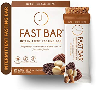 Fast Bar, Nuts & Cacao Chips, Gluten Free, Plant Based Protein Bar For Weight Management & Intermittent Fasting (10 Count ...