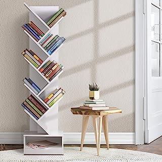 Artiss 9 Tier Tree Bookshelf Wooden Bookcase CD DVD Storage Rack, White