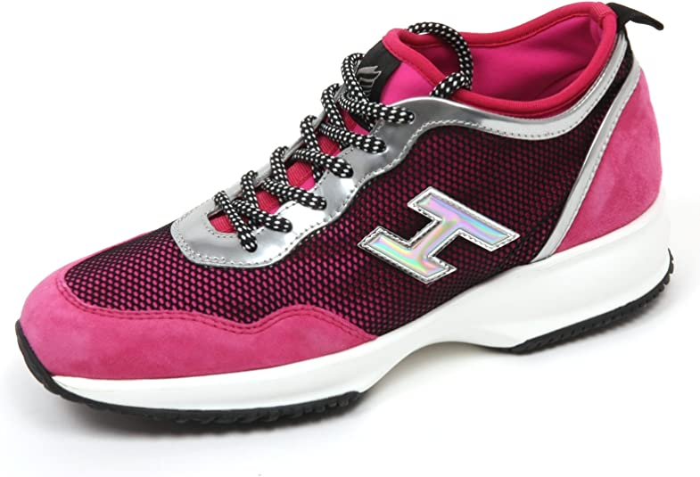 Hogan C8420 Sneaker Donna Interactive Lycra H Flock Fucsia/Nero ...