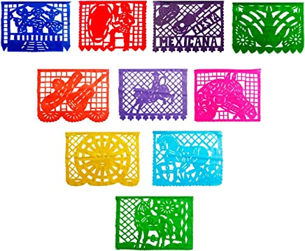 4 Pack Mexican Garland Decorations, Papel Picado Banner, Papel Picado Tissue Paper Garland,
