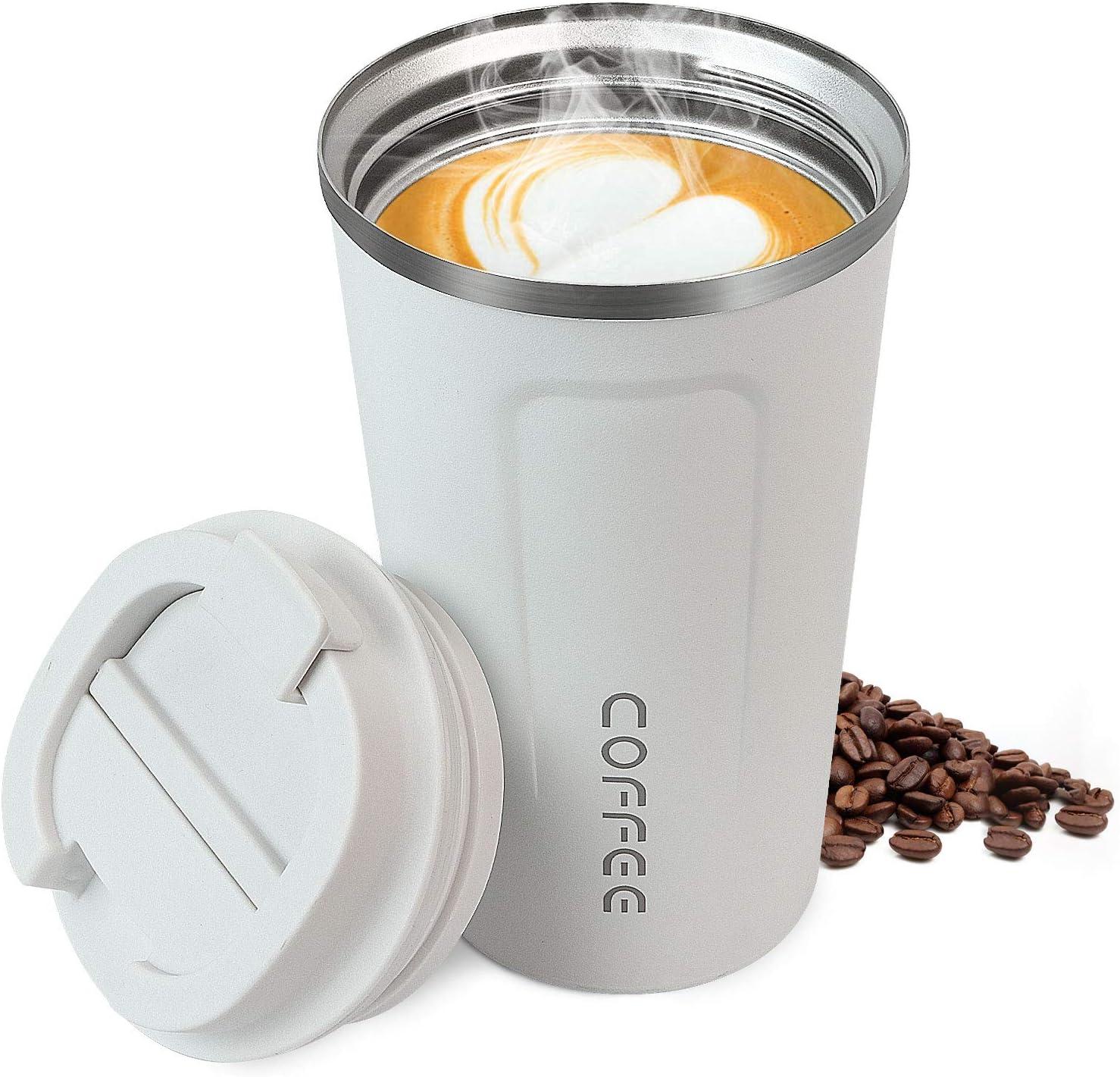 Taza de Café, Taza de Viaje de Acero Inoxidable Taza de Café Para Llevar sin BPA Taza Térmica Matt Mantiene 6 h Caliente / Fría Taza de Viaje de Café y té con Aislamiento de Doble Pared de Acero