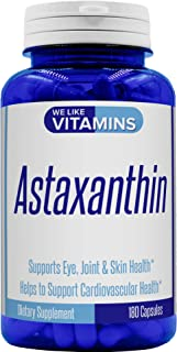 Astaxanthin - 180 Capsules - 10mg Per Serving - Astaxanthin Supplement 3 Month Supply Antioxidant Helps Support Exercise Recovery, Eye, Joint, Skin Health