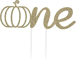 CMS Design Studio Handmade 1st Birthday Cake Topper Decoration - One with Pumpkin - Double Sided Gold Glitter Stock
