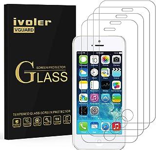 ivoler [4-pack] Kompatibel med iPhone SE 2016/5S/5/5C skärmskydd, [härdat glas] film för iPhone SE 2016/5S/5/5C - [9H hård...